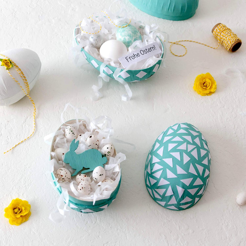 Oster-Überraschung: Nest im Pappmaché-Ei