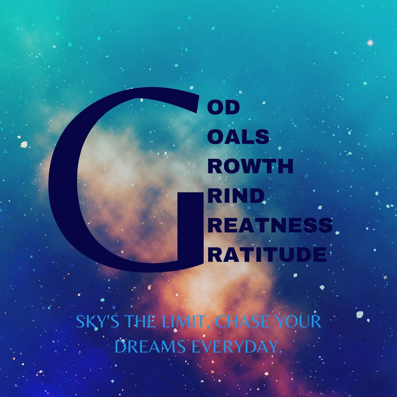 GOD, Goals, Growth, Grind, Greatness, Gratitude