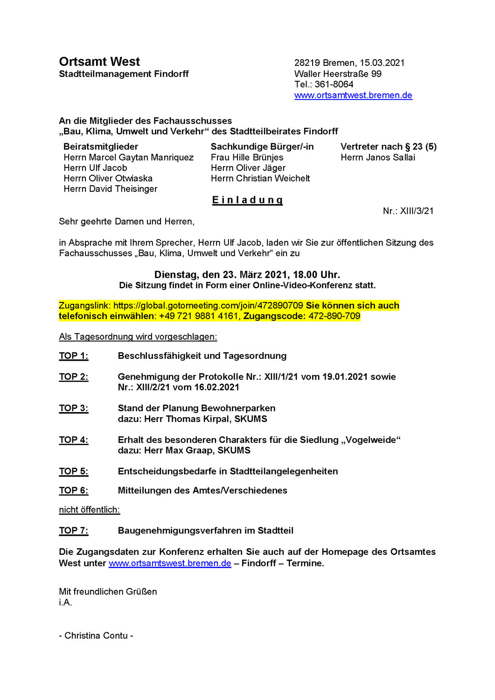 Bewohnerparken für Findorff? Der Beirat tagt zur aktuellen Planung