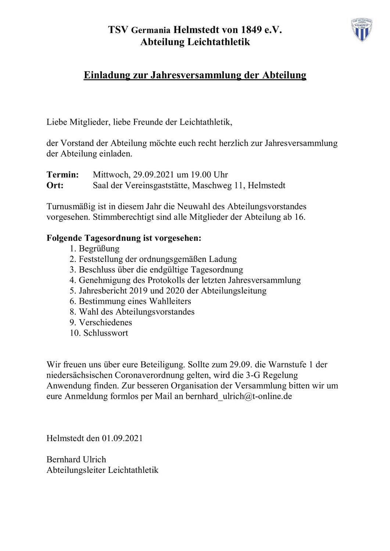 Jahreshauptversammlung der Leichtathletikabteilung