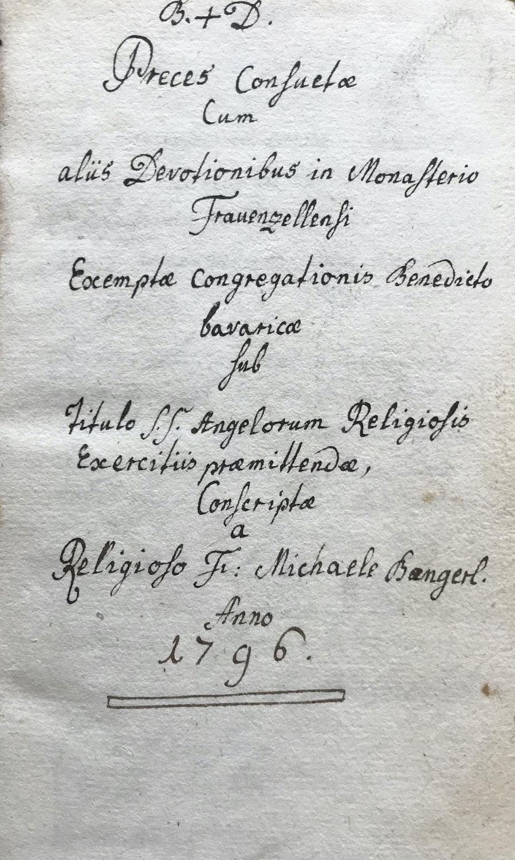 Fundstück: Eine Frauenzeller Handschrift von 1796 im Pfarrarchiv Münchenreuth