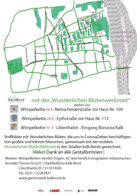 Installation der dritten Wimpelkette bei der Borussia Kalk auf der Lilienthalstraße