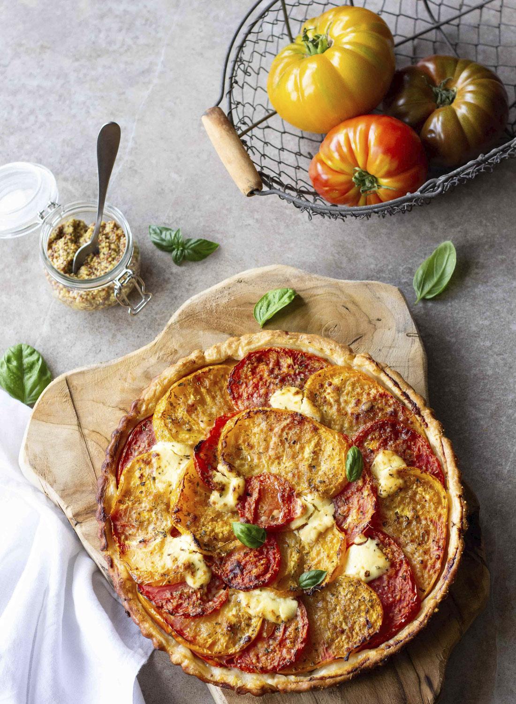 Tarte thon-tomates à la moutarde