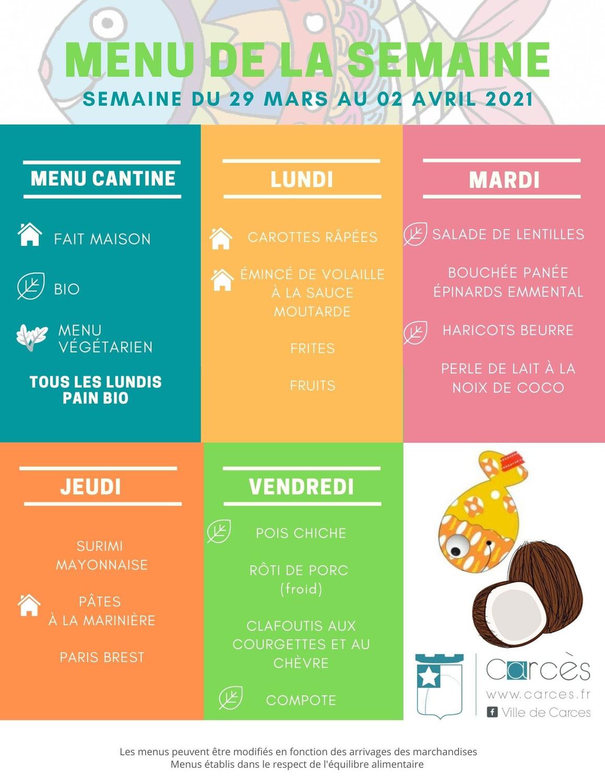 MENUS CANTINE du 29 mars au 02 avril