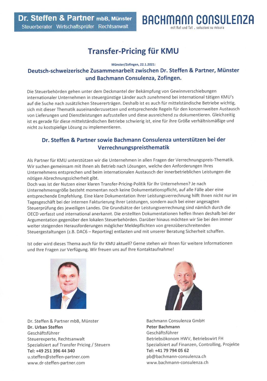 Partnerschaft mit Dr. Steffen & Partner mbB, Münster, Deutschland