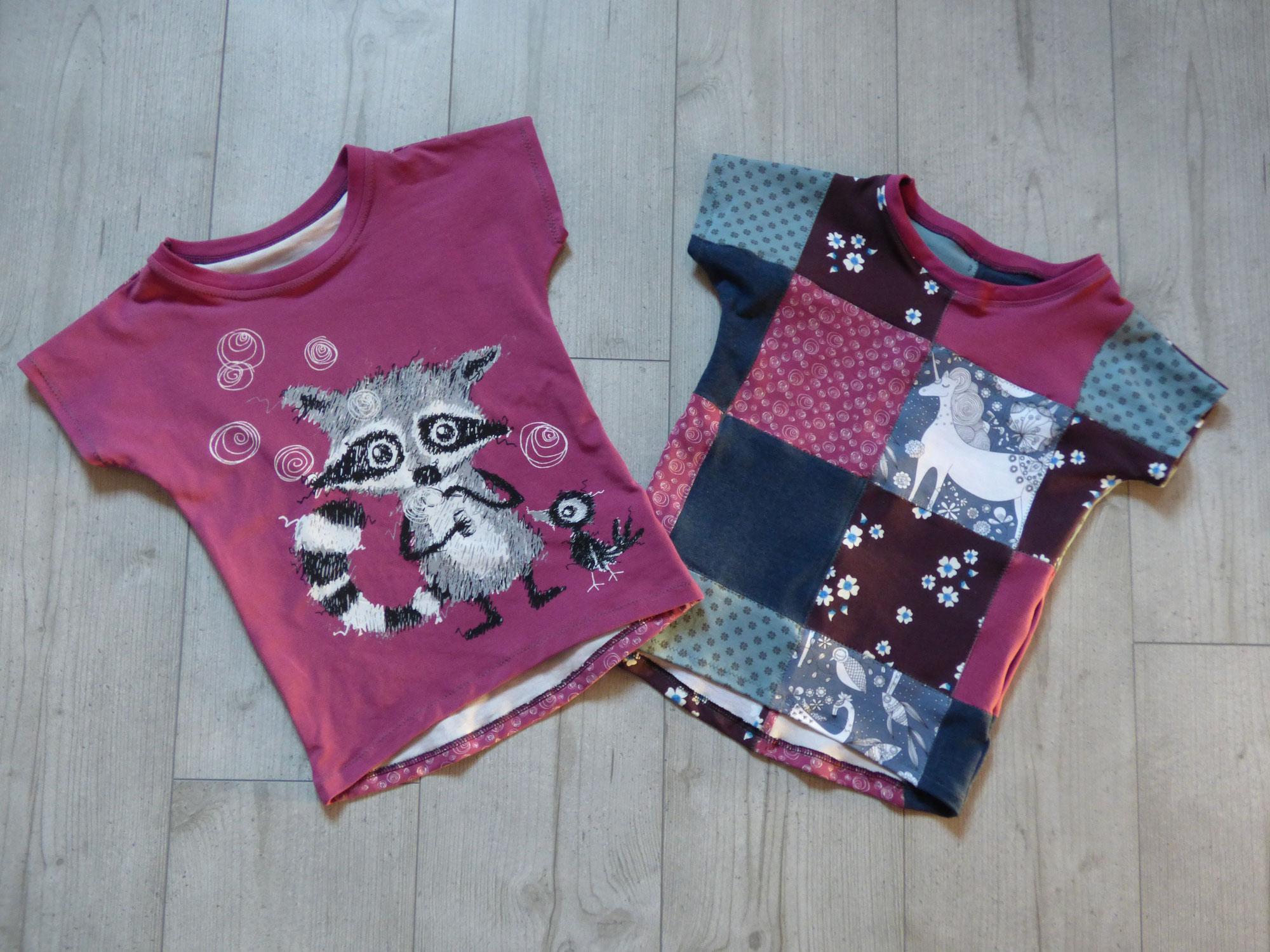 Zwei neue Shrits für meine Tochter: mit Waschbären und Patchwork