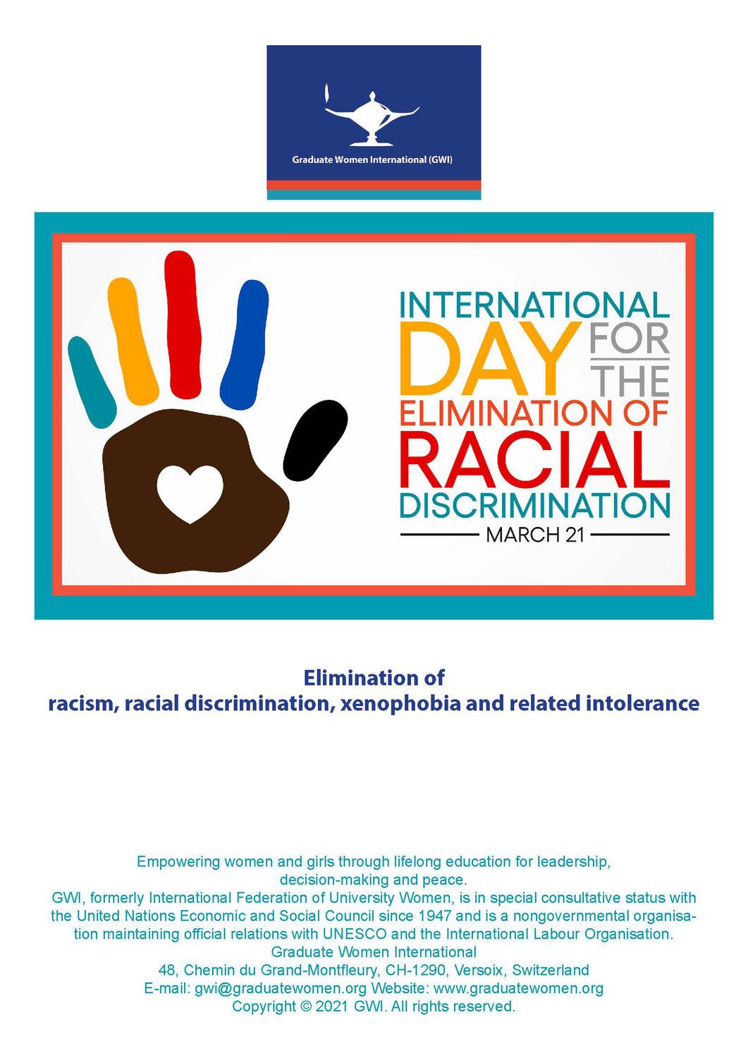 Today is the International Day for the Elimination of Racial Discrimination (IDERD).
