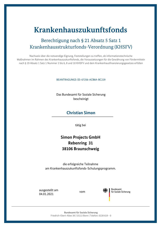 Simon Projects ist  vomBundesamt für Soziale Sicherung  als berechtigter IT-Dienstleister zertifiziert!