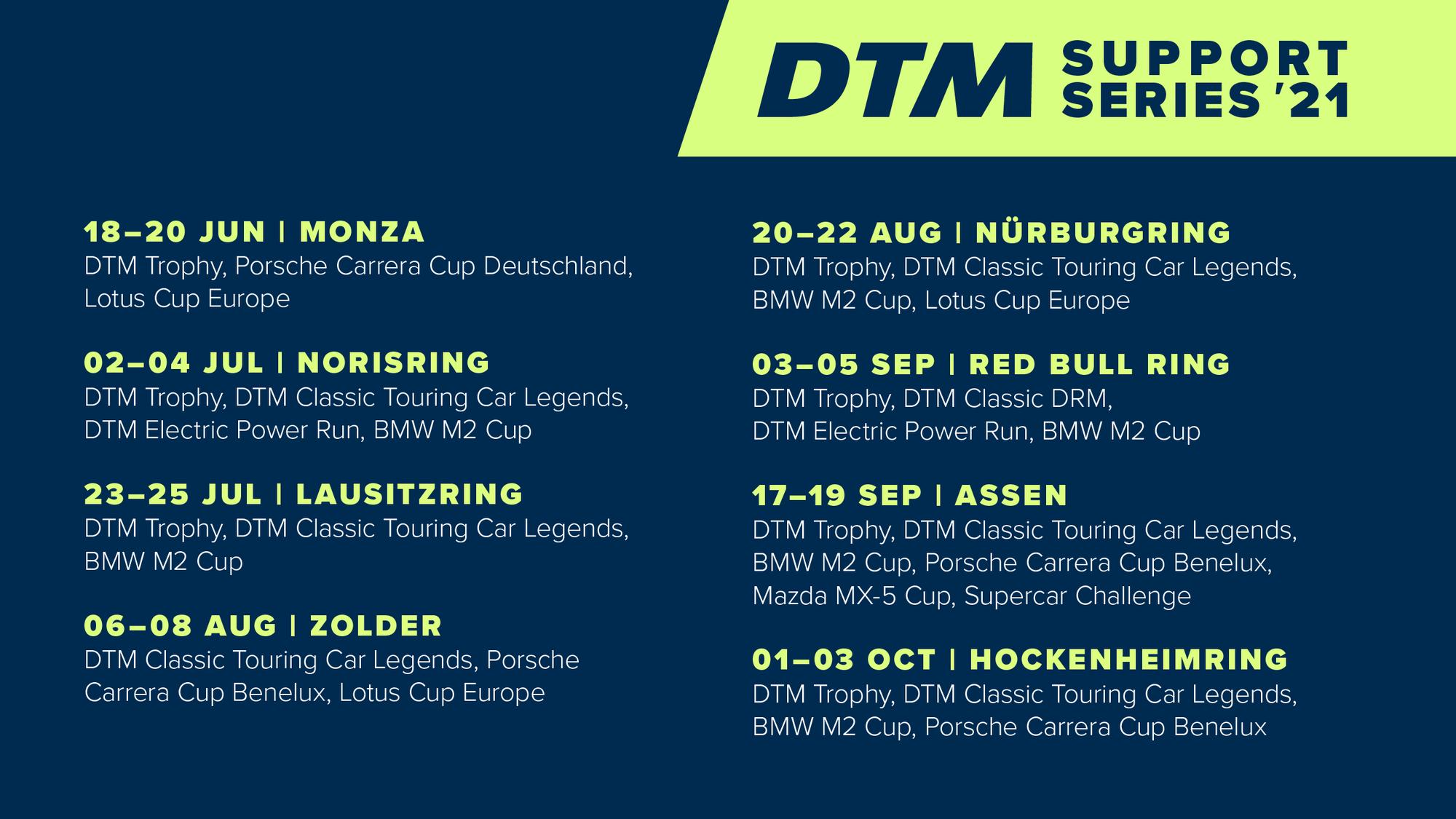 Vorverkauf startet: Die DTM rast mit acht Rennserien durch 2021