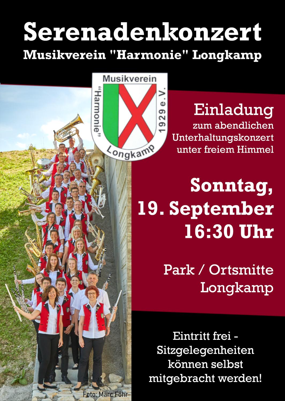 Ankündigung: Serenadenkonzert des MV Longkamp im Park