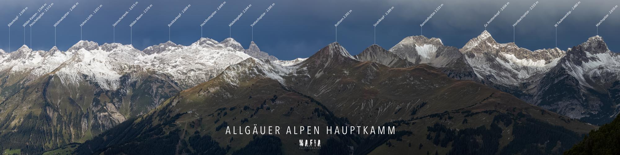 Allgäuer Alpen Hauptkamm Panorama