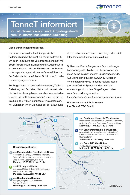 TenneT informiert | Virtual Informationroom und Bürgerfragestunde zum Raumordnungskorridor Juraleitung