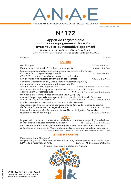 ANAE N° 172 - Apport de l'ergothérapie dans l'accompagnement des enfants avec troubles du neurodéveloppement