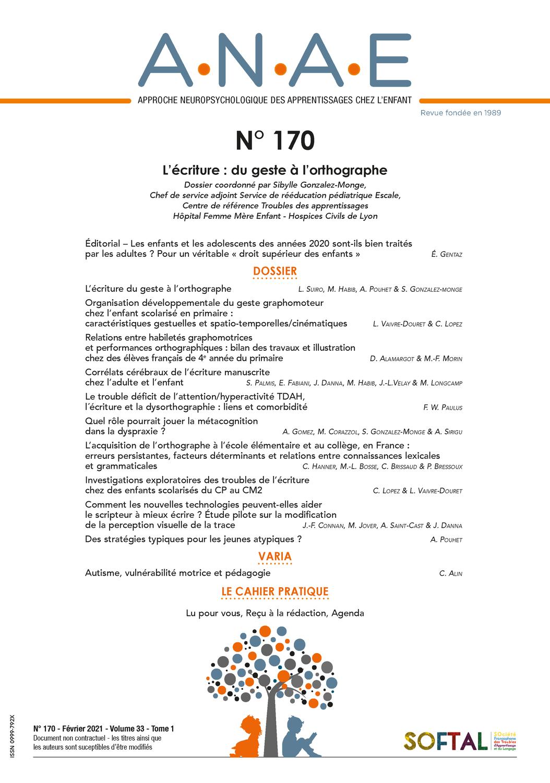 ANAE N° 170 - L'écriture du geste à l'orthographe