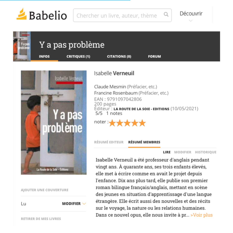 Isabelle Verneuil sur Babelio