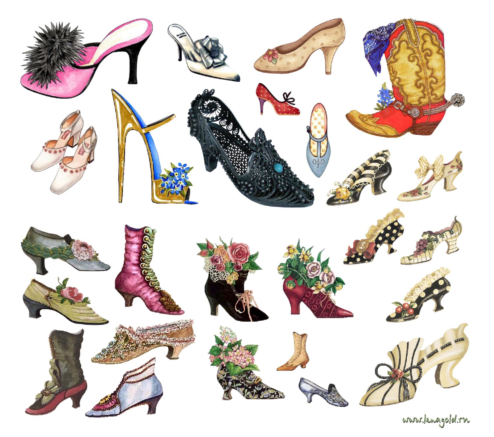 много туфель на одной картинке каждой окантовки для