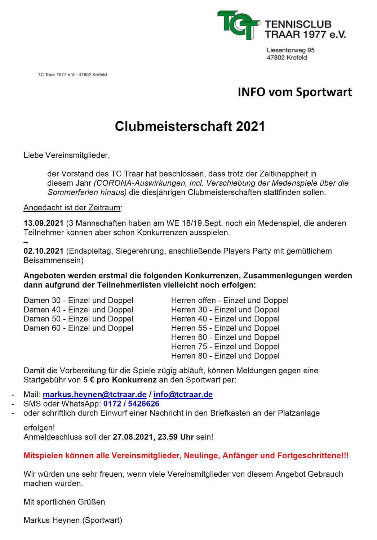 INFO vom Sportwart: Clubmeisterschaften 2021