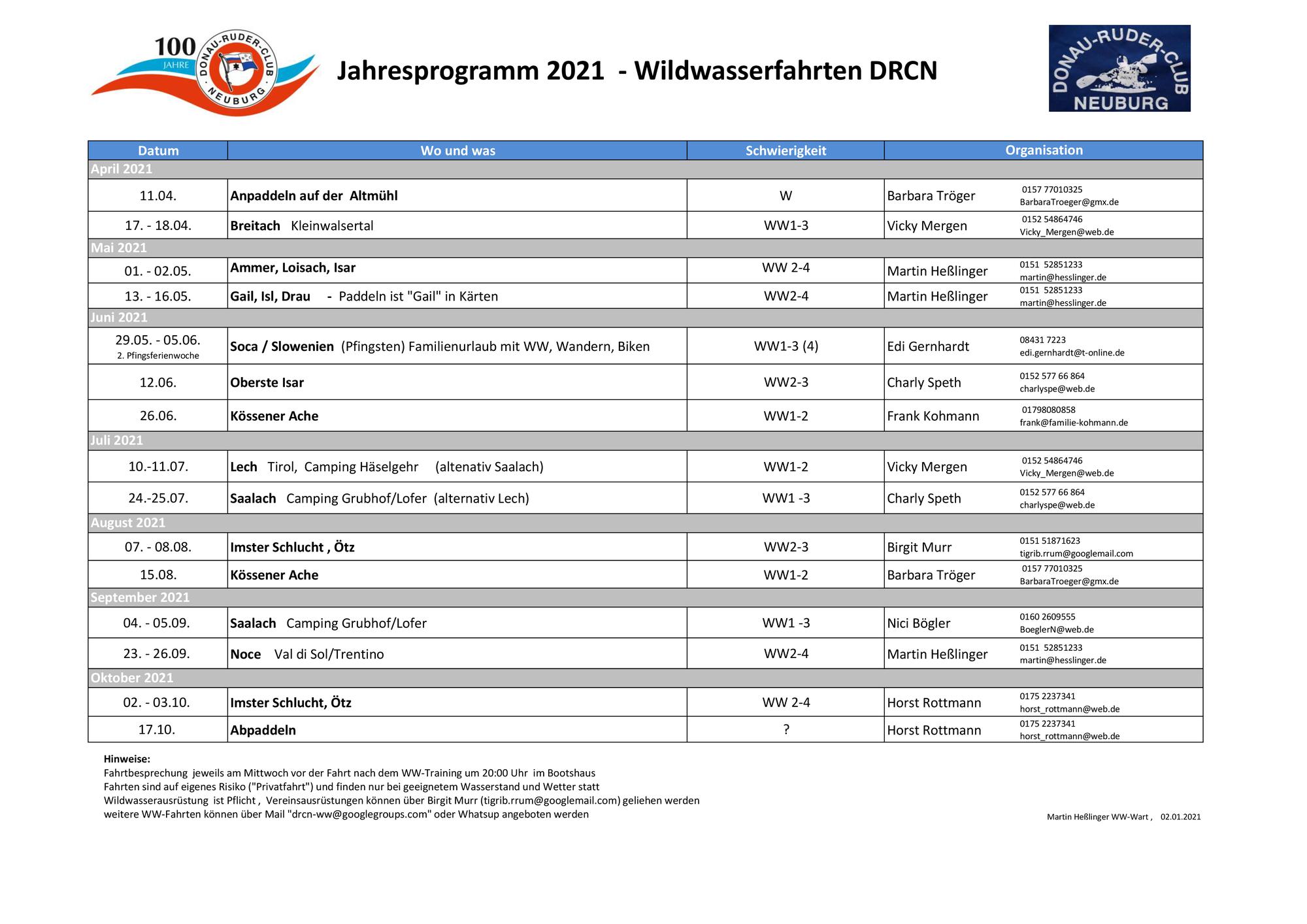 Jahresplanung  2021 - Wildwasserfahrten