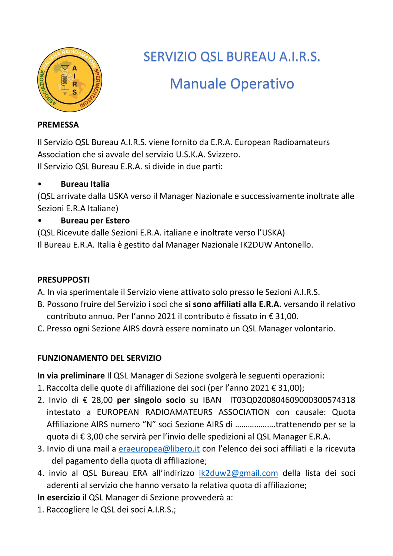 SERVIZIO DI ASSICURAZIONE E QSL A.I.R.S.