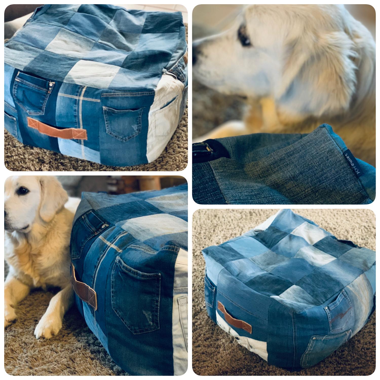 Poef van gerecyclede jeans