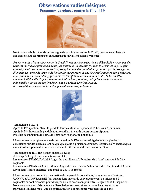 Observations radiesthésiques des personnes vaccinées contre la Covid 19