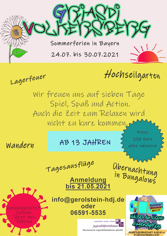 """Sommerferienfreizeit ab 13 Jahren """"Griasdi Volkersberg"""""""
