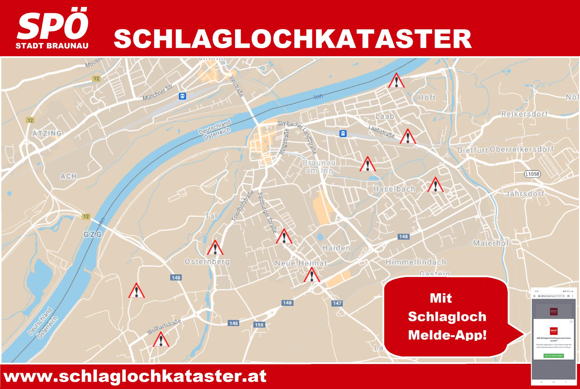 www.schlaglochkataster.at - ein neuer Service der SPÖ Braunau