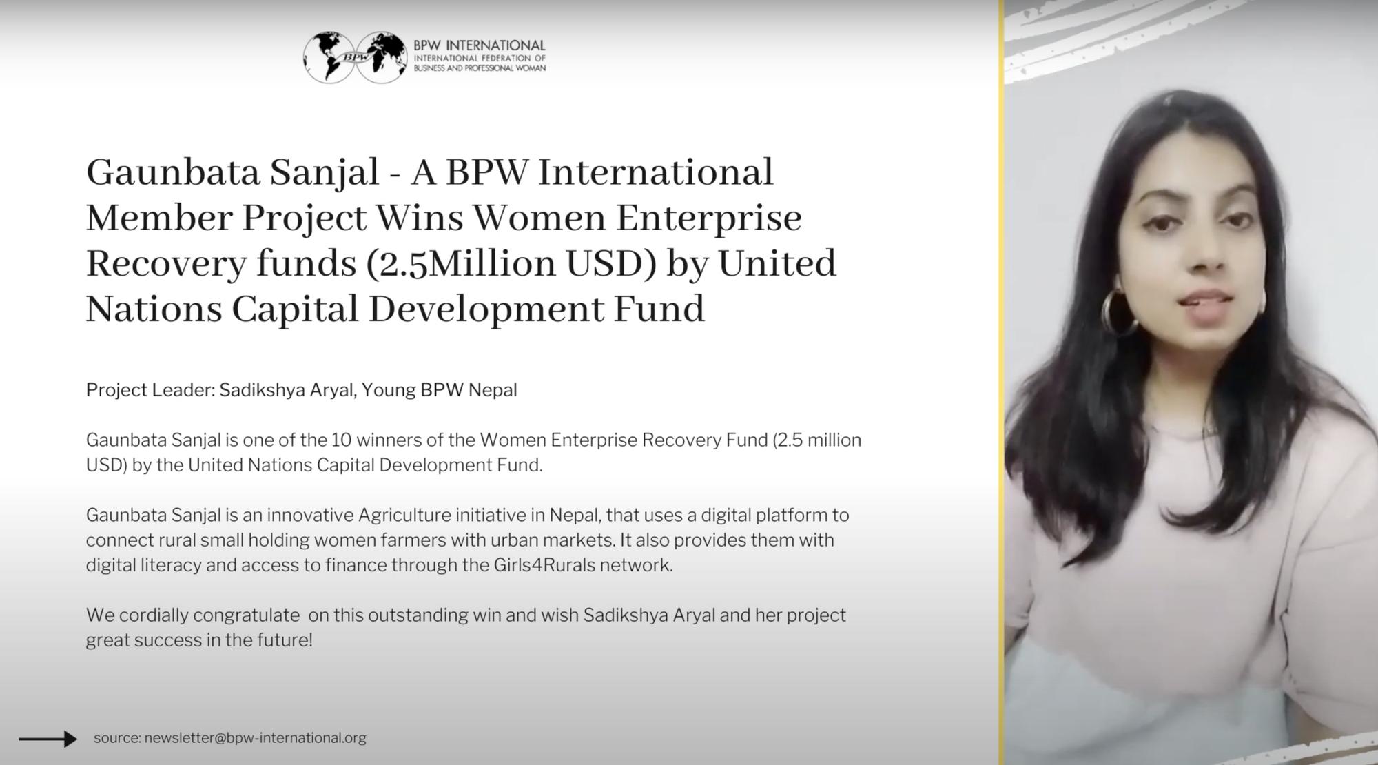 Sadikshya Aryal, Young BPW Nepal - Prize Winning Member Project