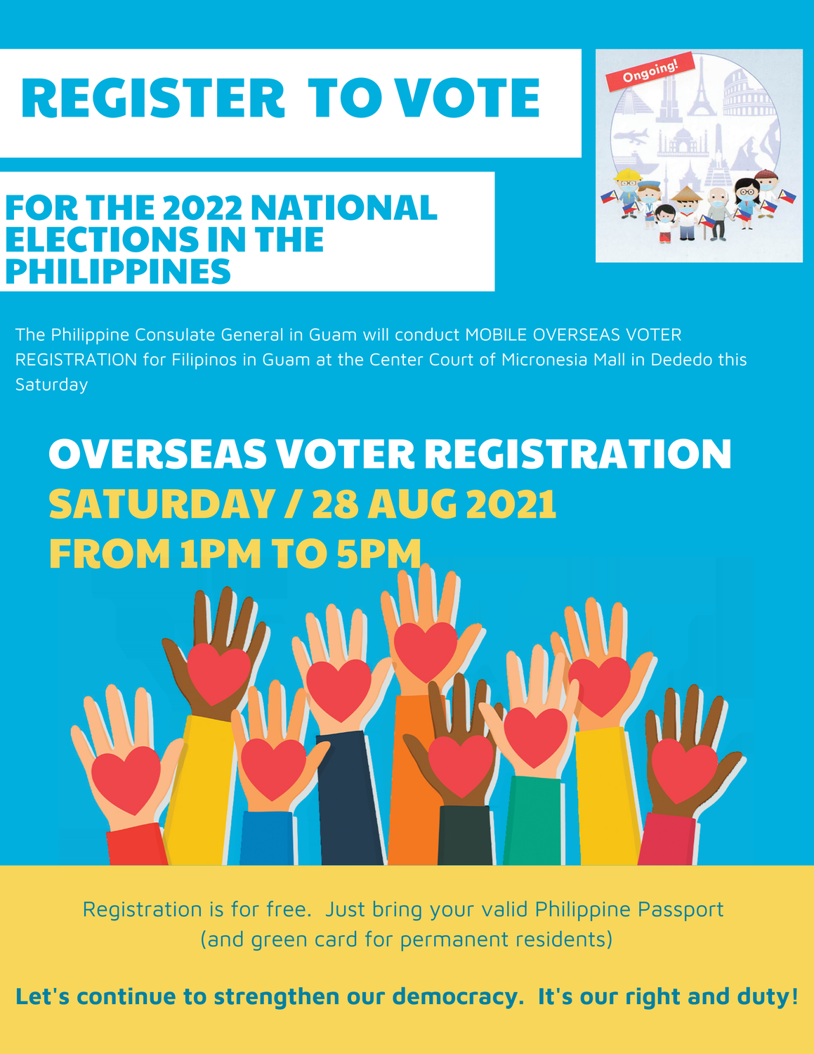 Three days to go: Overseas Voter Registration at the Micronesia Mall, 28 August 2021