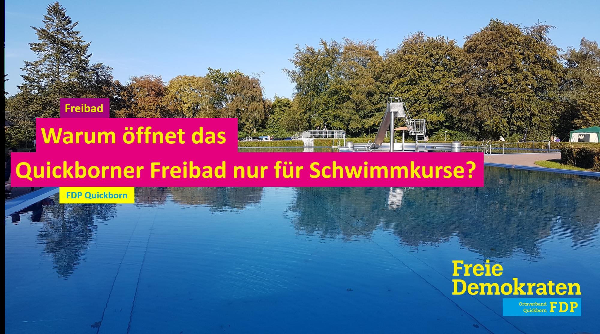 Warum öffnet das Quickborner Freibad nur für Schwimmkurse?
