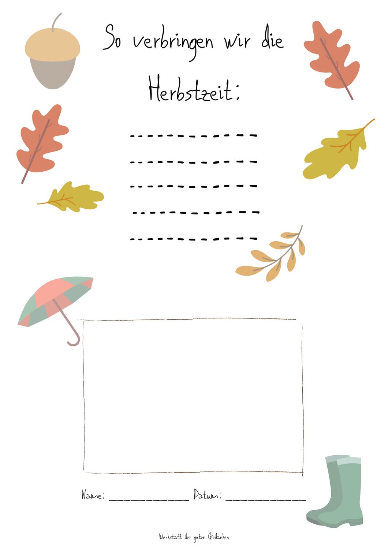 Herbstmomente in Kinderordnern festhalten- kostenlose Vorlage