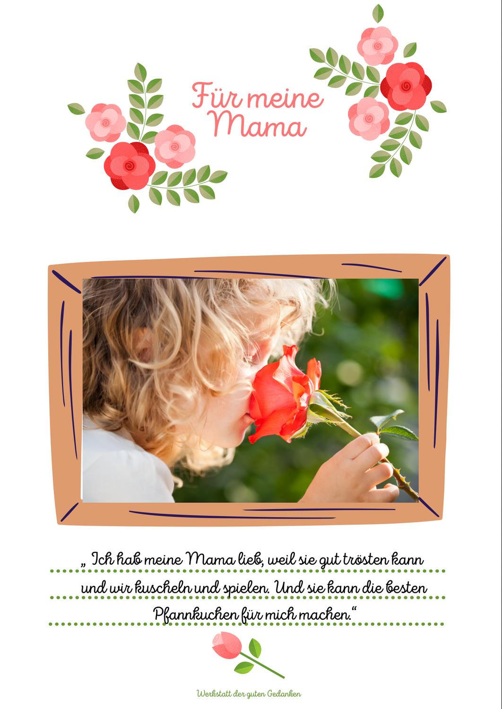 Eine Idee für den Muttertag- kostenlose Vorlage