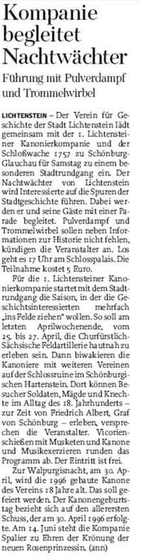 Freie Presse vom 09.04.2014