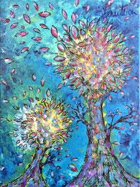Herbstbäume, Acrylbild von silvanillion