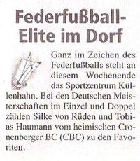 Cronenberger Woche Vorbericht vom 32.11.2007 DM