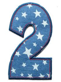 Bild: Geburtstagszahl 2, Zahlen Applikation Aufbügler als Geschenk zum 2. Geburtstag
