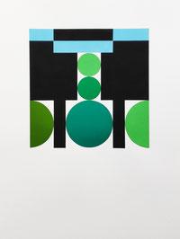 Ellen Roß, squares & circles n°7, 2018, 31 x 41 cm, Vinyl auf Bütten