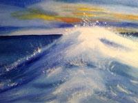 Welle im Morgenrot Öl auf Leinwand
