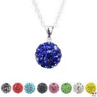 Collier à pendentif perle shamballa bleue foncée