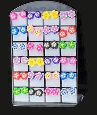 Boucles d'oreilles fleurs en pâte Fimo 12 modèles