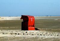 Kniepsand mit Strandkorb im Sommer