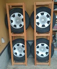 木製タイヤラック