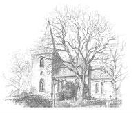 Maria-Magdalenen-Kirche zu Berkenthin  -  Bleistiftzeichnung von Bernd Dittberner