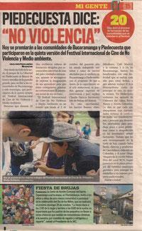 cine de no violencia, piedecuesta por la paz, Nueva Colombia, arte film, sua chi, ecozine, Leidy Mantilla