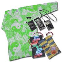 「鯉口シャツ」「金欄織り巾着」「ミニポシェット」/提供:お祭り用品日本最大級の品揃え 橋本屋
