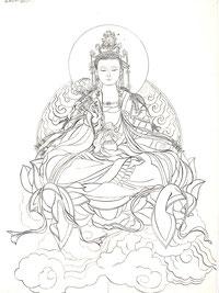 观世音 GODDESS OF MERCY 68X46CM 纸本水墨 INK  ON PAPER 2010