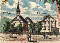 Dorfmitte Niederdieten ca. 1905; aus einer alten Postkarte