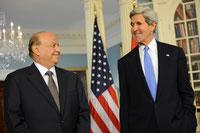 Abdo Rabbo Mansour Hadi - Präsident von 2012 bis 2015 mit John Kerry (USA)
