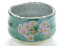九谷焼『抹茶碗』ソメイヨシノ緑塗り