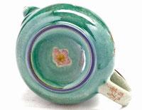 九谷焼通販 急須 茶器 ポット 大 ソメイヨシノ緑塗り 裏絵 高台の図